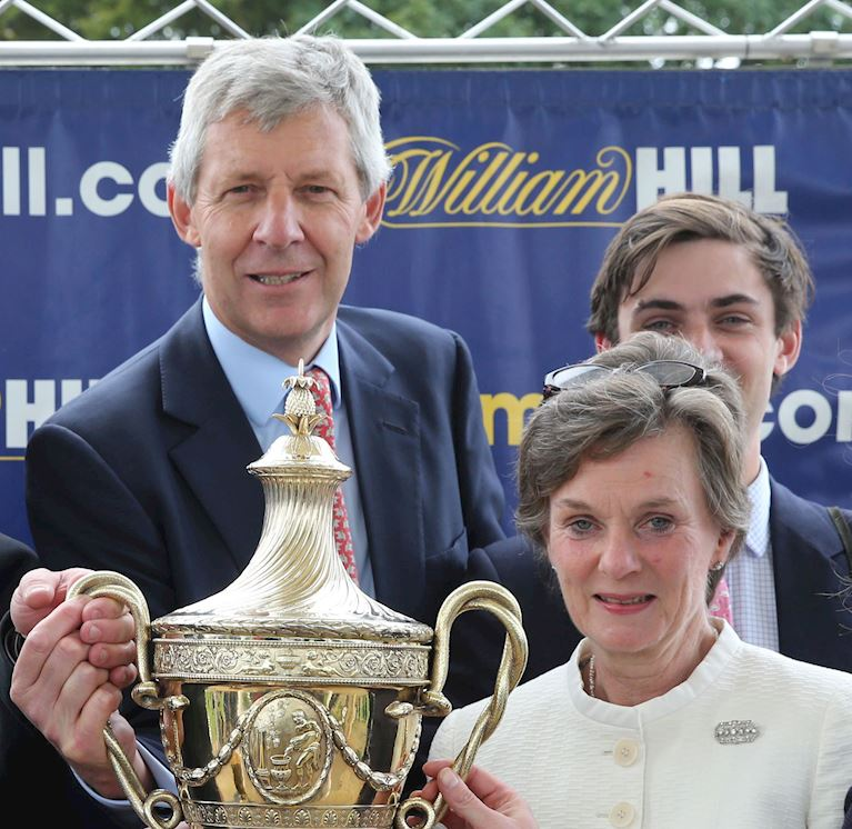 Aintree Chairman, Nicholas Wrigley winning The Ayr Gold Cup as joint owner of Don't Touch It in 2015..JPG