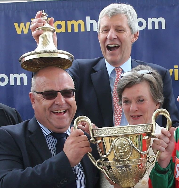 Aintree Chairman, Nicholas Wrigley winning The Ayr Gold Cup as joint owner of Don't Touch It in 2015.jpg