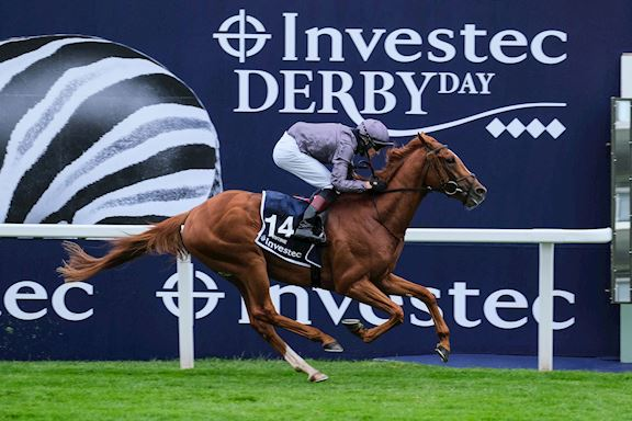 Serpentine crossing the Winning Post to win the 2020 Investec Derby
