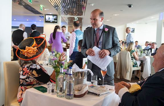 The Wine Tipster talking to guests in the Chez Roux restaurant