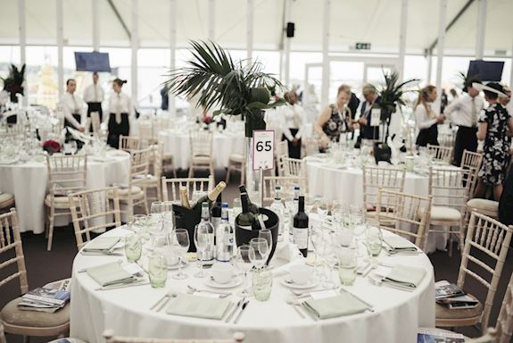 the tattenham straight marquee at the derby festival